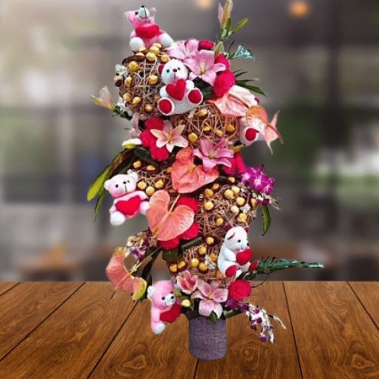 Flowers & Ferrero Rocher Arrangement