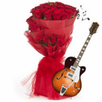 VIOLINIST  RED ROSES BUNCH