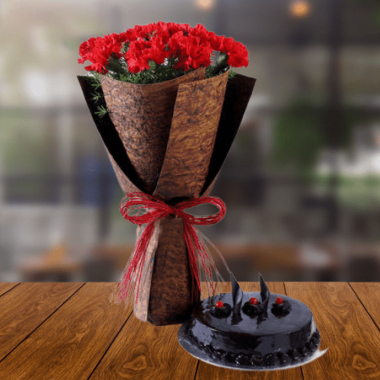 12 Beautiful Red Carnations & Truffle Cake