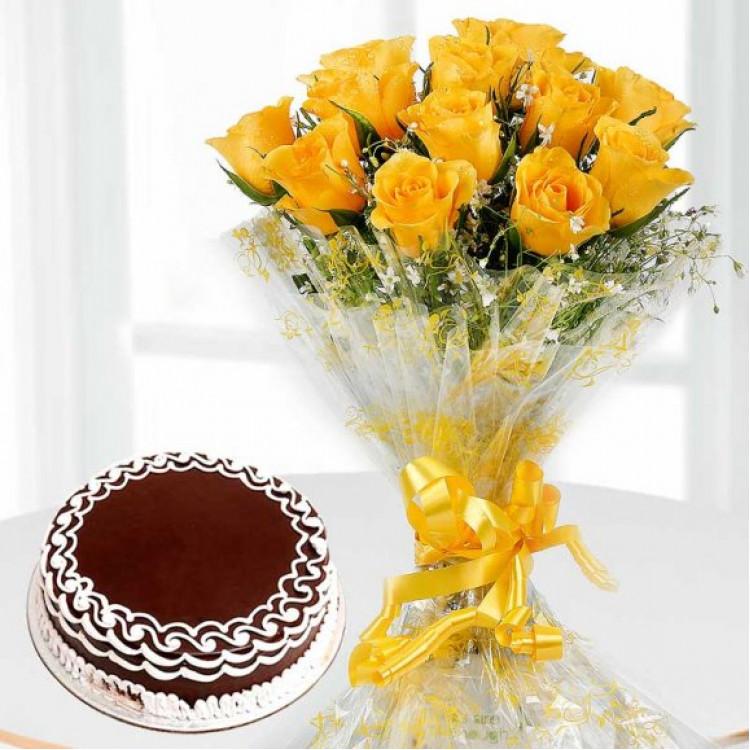 Beyond Perfect – Yellow Roses & Chocolate Cake