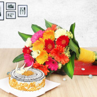 Prettylicious – Gerberas Bunch & Butterscotch Cake