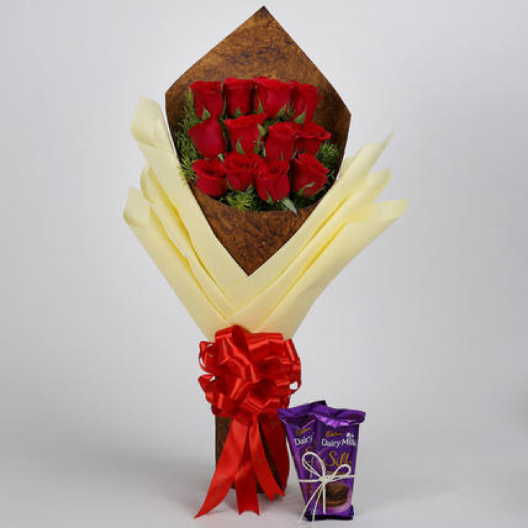 Bouquet of Red Roses & Dairy Milk Silk