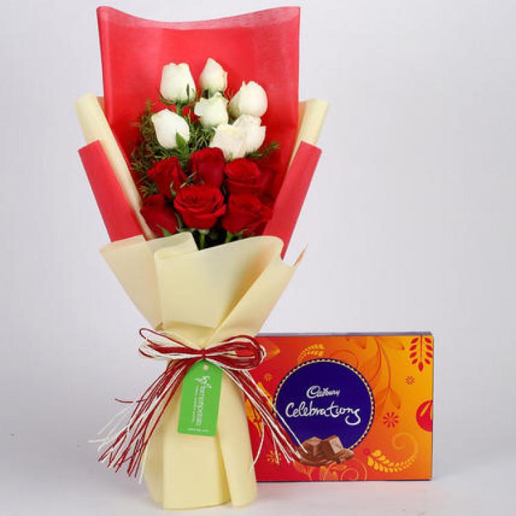 Cadbury Celebrations Box with Red & White Roses
