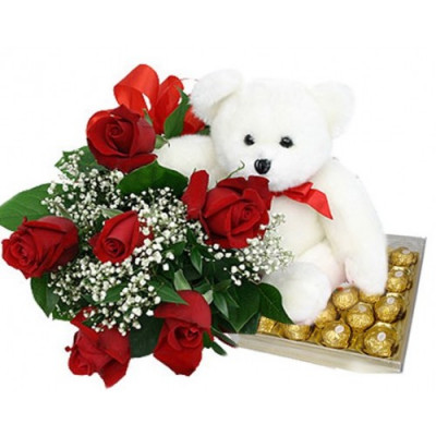 24 Exclusive Red Dutch Roses Bouquet and Ferrero Rocher Box