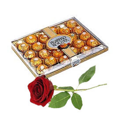 24 Pcs Ferrero Rocher Chocolate Box with single red rose