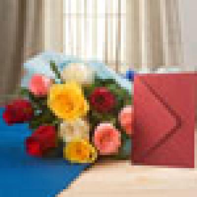 Mix Roses N Greeting Card