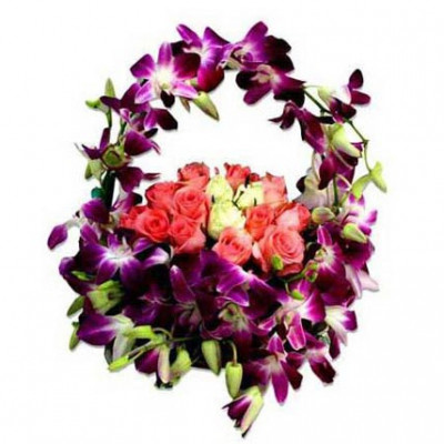 Orchids and Roses Round handled Bouquet