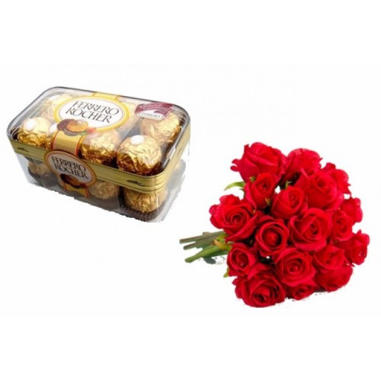 16 Pcs Ferrero Rocher with 12 red roses