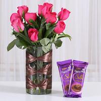 Dark Pink Roses Vase & Dairy Milk Silk Combo