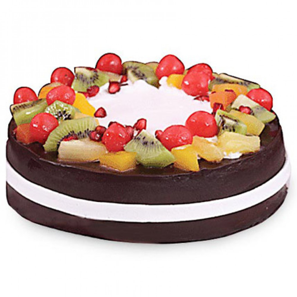 Choco Vanilla Cake Topped With Fresh Fruits