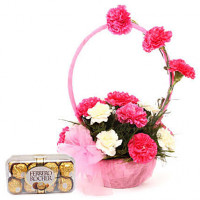 Pink N White Basket Of Flavours