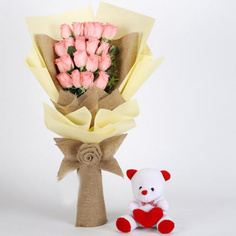 20 Pink Roses Bouquet & Teddy Bear Combo
