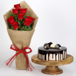 8 Red Roses Bouquet & Choco Cream Cake