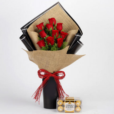 10 Red Roses & Ferrero Rocher Box