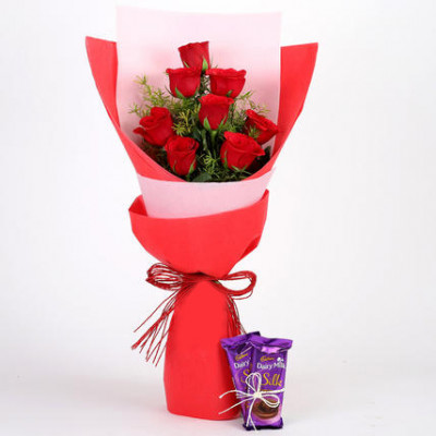 8 Red Roses with Dairy Milk Silk Combo
