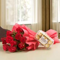 Red Roses & Ferrero Rocher Combo