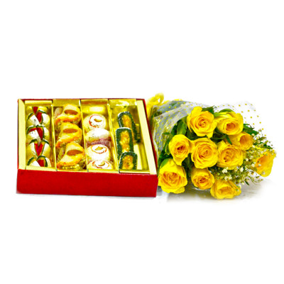 Assorted Sweets with Yellow Roses